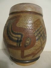 Vintage Primitive Art Pottery Stoneware Vase by STUS Large Glazed Inside and Out