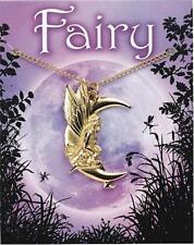 Moon Fairy pendant and chain, 22c Gold Plated English Pewter