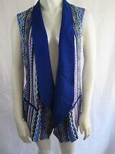 Alberto Makali Multi Color Open Drape Front Sleeveless Textured Vest Sz M NWT