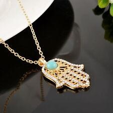 Fatimas Hand Damen Halskette Anhänger Strass Kette goldfarben Schmuck