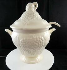 """CALIFORNIA POTTERY #660 WHITE GRAPES & LEAVES 11 1/2"""" LIDDED SOUP TUREEN & LADEL"""