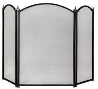 Fire Vida Selby Fire Screen Spark Guard Arched Black Home Essential Accessory