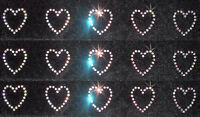 15 AB HEART iron-on RHINESTONE BEAD GEM TSHIRT TRANSFER