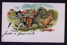 """Mint.! Wain. Fighting Cats, """"Just A Few Words"""" Tuck,Chromolithograph Postcard"""