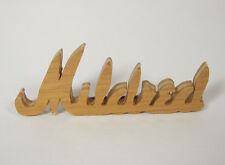 Vintage Wood Mildred Brooch Pin Jewelry Name Tag Brown Tan Hand Carved