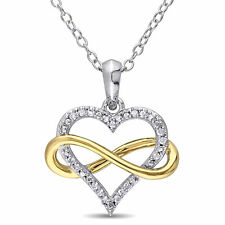 Amour Yellow Plated and White Silver Diamond Necklace (G-H, I2-I3)