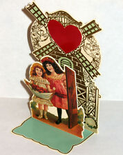 3D VALENTINE GREETING CARD Girls at Windmill Stand up Display MINT B. Shackman