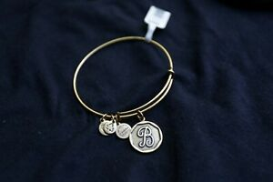 ALEX AND ANI Initial 'B' Charm Brass Bangle Bracelet 2013 BRAND NEW