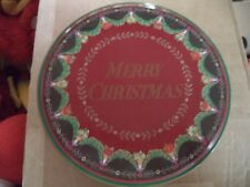 """Spains Inc Red & Green Merry Christmas Garland Cookie Biscuit 6 1/2"""" Round Tin"""