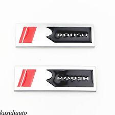 """2x Metal Sliver Ford Mustang Roush Square """"R"""" Emblem Door Fender Badge Sticker"""