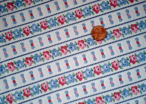 FLORAL STRIPE Full FEEDSACK Quilt Sewing DollClothes Craft Fabric Red Blue Green
