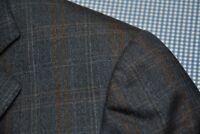 ERMENEGILDO ZEGNA TROFEO COAT BLAZER BLUE BROWN WINDOW PANE CHECK PLAID 50 40 R