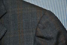 ERMENEGILDO ZEGNA TROFEO COAT BLAZER BLUE BROWN WINDOW PANE CHECK PLAID 50 40 R