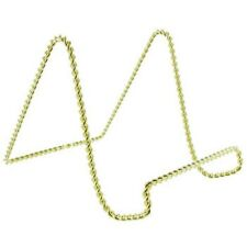 """TWO 6"""" BRASS GOLD-TONE TWISTED WIRE EASEL DISPLAY STAND FOR PLATE PICTURE BOOK"""