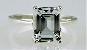 Natural White Topaz Emerald Cut Solitaire Ring, 925 Sterling Silver, 4.00 Carats