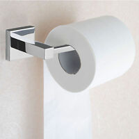 Modern Deluxe Bathroom Toilet Roll Holder in Chrome   Wall Mounted Square Design
