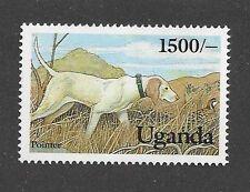 Dog Art Body Study Portrait Postage Stamp ENGLISH POINTER Uganda Africa MNH