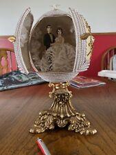 Vintage Carved Gold Wedding Bride Groom Heart Ostrich Egg Jewels Beaded Pearls.