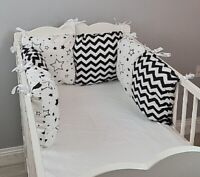 PILLOW BUMPER COT COT BED BUMPER made from 6 cushions NAVY STARS soft pillows