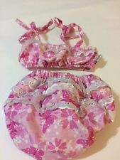 Wee Wave Ruffle Swim Suit 2 Pc Bathing Suit Pink Floral Infant Girl Size 0-6 Mo