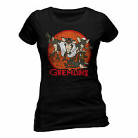 Gremlins Retro Group T Shirt Official Horror Ladies Skinny NEW XL