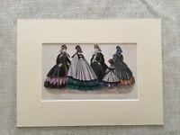 Antico Moda Stampa Vittoriano Abito Costume Mano Colorato Incisione Raro