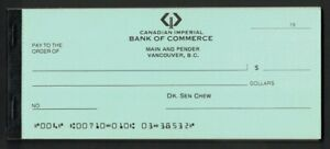 Canada 1970-80s? Imperial Bank of Commerce  Comp unused cheque book, 25 cheques