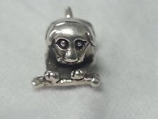 Stamped 925 IBB THAI Dog Laying Down With Bone Bead Sterling Silver