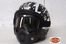 masque casque jet moto vintage café racer custom lunette détachable amovible