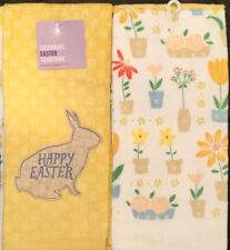 Set Of 2 Plush Yellow Easter Bunny Rabbit Flowers Kitchen Dish Hand Tea Towels