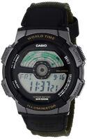 Casio Men's Split LCD Digital Silver Resin Black/Green Nylon Watch AE1100WB-3A