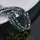 100pcs 4mm Cube Square Faceted Crystal Glass Loose Spacer Beads Colorized Plated