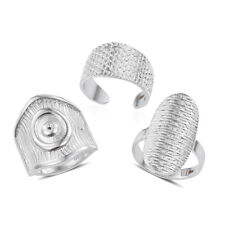 CIGAR RINGS SILVER TONE SET OF 3 ELONGATED OPEN BAND RINGS SIZE 7 BAND RINGS