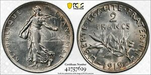 1919  2 FRANCS FRANCE GAD-532 F-266 PCGS AU58 #42757629 KM#845.1 NICE EYE APPEAL