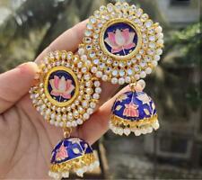 Bollywood Enameled Kundan Blue jhumkas Earrings Women Bridal Wedding Jewelry Big