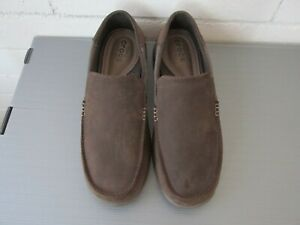 Crocs Triple Comfort Men Slip On Leather Santa Cruz Brown Shoes 13 M