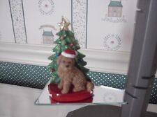 """Kurt Adler 4.25""""- Pet Parade -Brown Goldendoodle With Tree Ornament-New"""