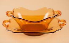 Cambridge Glass Amber Keyhole Handle Mayo & Underplate 2 Pcs