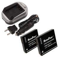 TWO BATTERIES + CHARGER for PANASONIC DMW-BCF10 Lumix DMC-FS Camera Battery X2