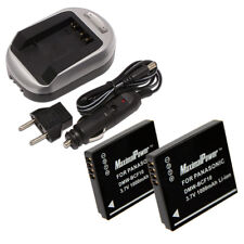 TWO BATTERIES + CHARGER Pack PANASONIC DMW-BCF10 Lumix DMC-FS Camera Battery X2