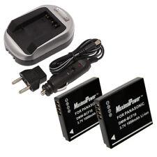 TWO BATTERIES + CHARGER Pack PANASONIC DMW-BCF10 Lumix DMC-FS Camera Battery X2