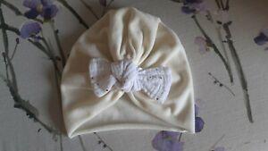 Handmade Velvet Turban 6-9 Months 6-12 Months Ivory White Gold Sparkle Bow