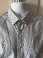 Bar III Extra Slim Stretch Long Sleeve White Blue Stripped Shirt 15.5-34-35 M