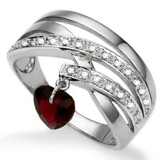 Genuine Garnet Dangle Heart Ring with Accent Diamonds Size 7 in 925 Silver