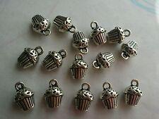 15 X Tibetan Silver Cup Cake Charms / Pendants
