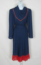 Vtg 1980s Donna Morgan For Non Stop Skirt & Jumper Top Navy Blue Poly Pleated