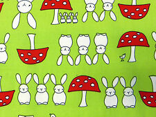Green RABBIT TOADSTOOL Cotton Fabric Bunny kid children craft animal woodland 1m