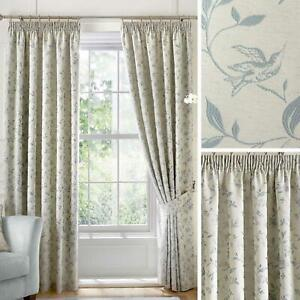 Duck Egg Lined Curtains Blue Bird Tape Top Ready Made Pencil Pleat Curtain Pairs