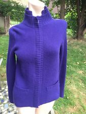 EUC Lord & Taylor CASHMERE womens 2-ply Purple Full Front Zipper sz.S Sweater