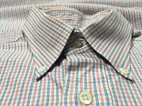 Ben Silver Exclusive Red White Blue Plaid Cotton Button Down Pocket Mens 15.5